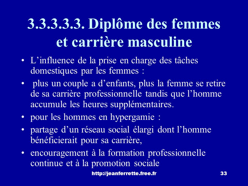 3.3.3.3.3. Diplôme des femmes et carrière masculine