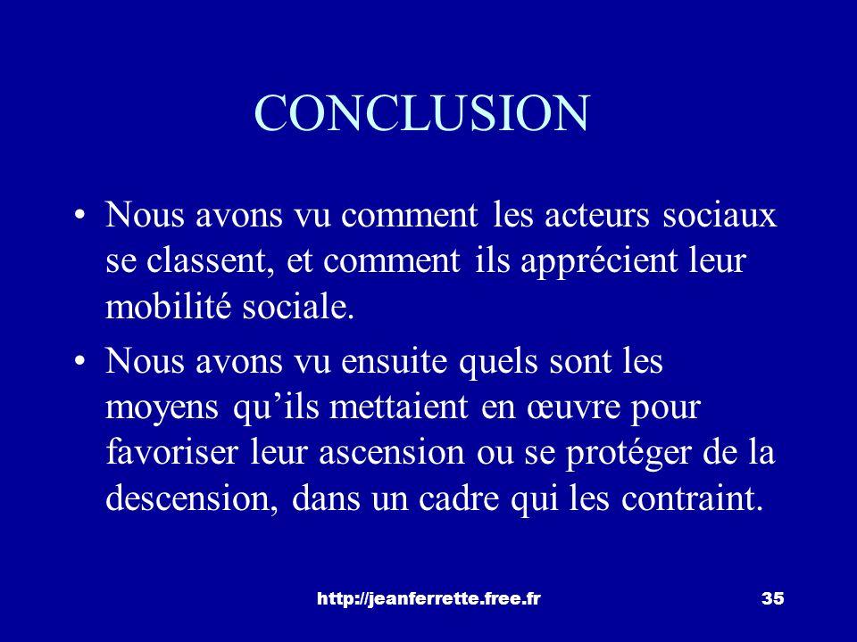 CONCLUSION Nous avons vu comment les acteurs sociaux se classent, et comment ils apprécient leur mobilité sociale.