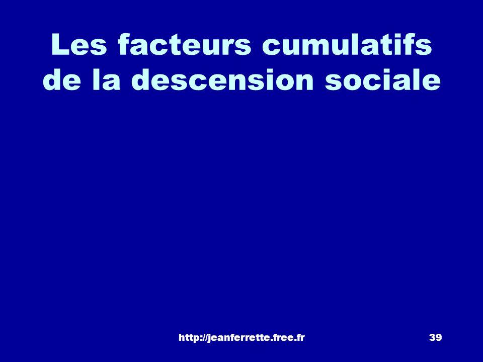 Les facteurs cumulatifs de la descension sociale