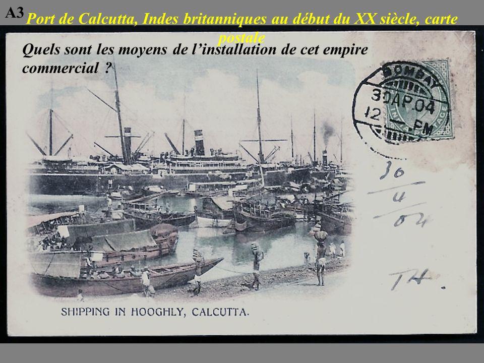 A3 Port de Calcutta, Indes britanniques au début du XX siècle, carte postale.