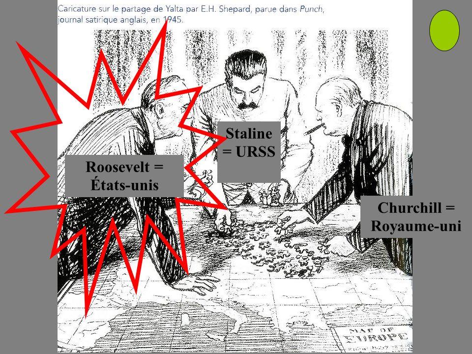 Roosevelt = États-unis Churchill = Royaume-uni