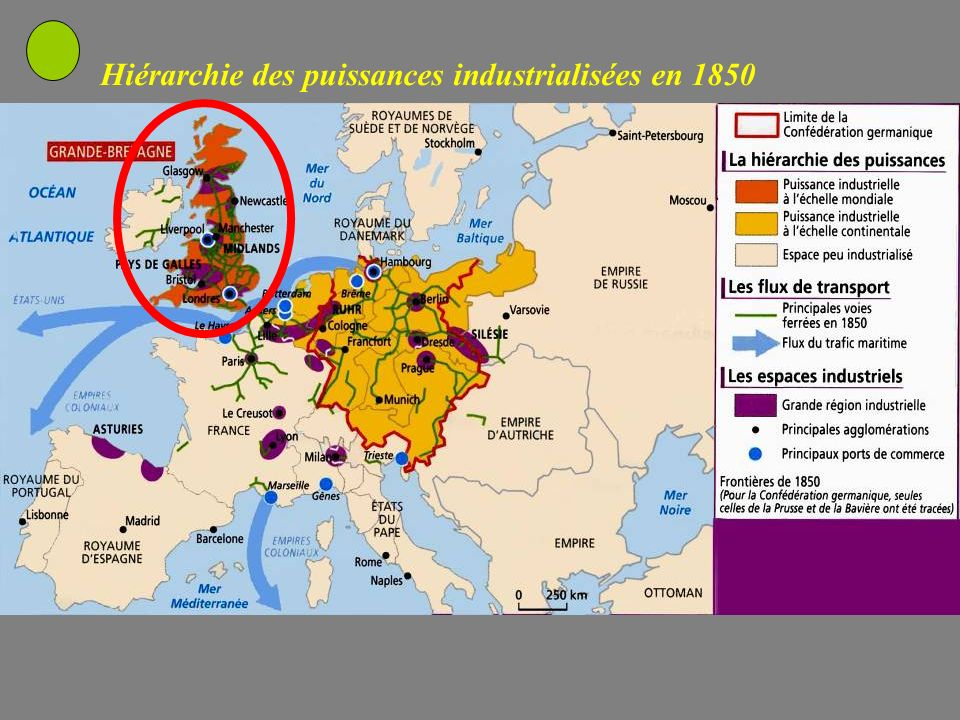 Hiérarchie des puissances industrialisées en 1850