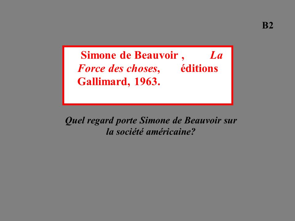Quel regard porte Simone de Beauvoir sur la société américaine