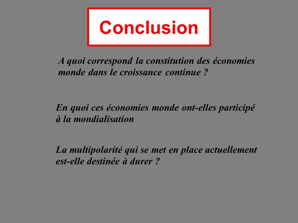 Conclusion A quoi correspond la constitution des économies monde dans le croissance continue