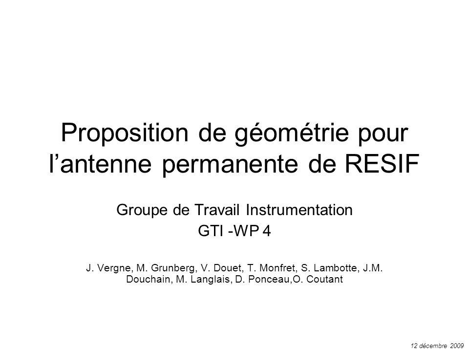 Proposition de géométrie pour l'antenne permanente de RESIF