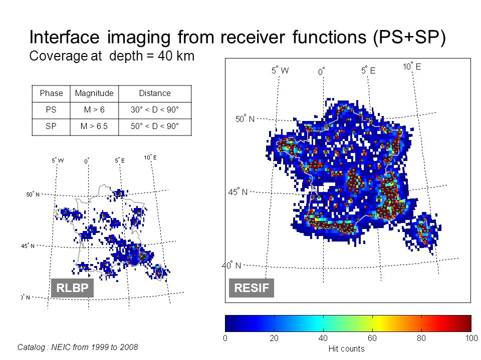 Interface imaging from receiver functions (PS+SP) Coverage at depth = 40 km