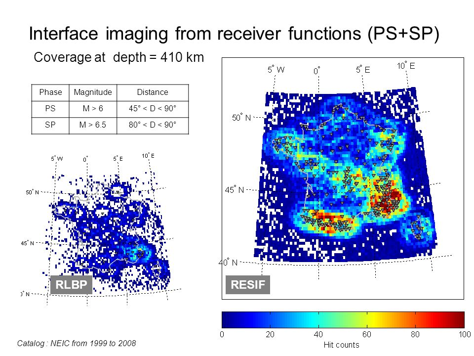 Interface imaging from receiver functions (PS+SP) Coverage at depth = 410 km