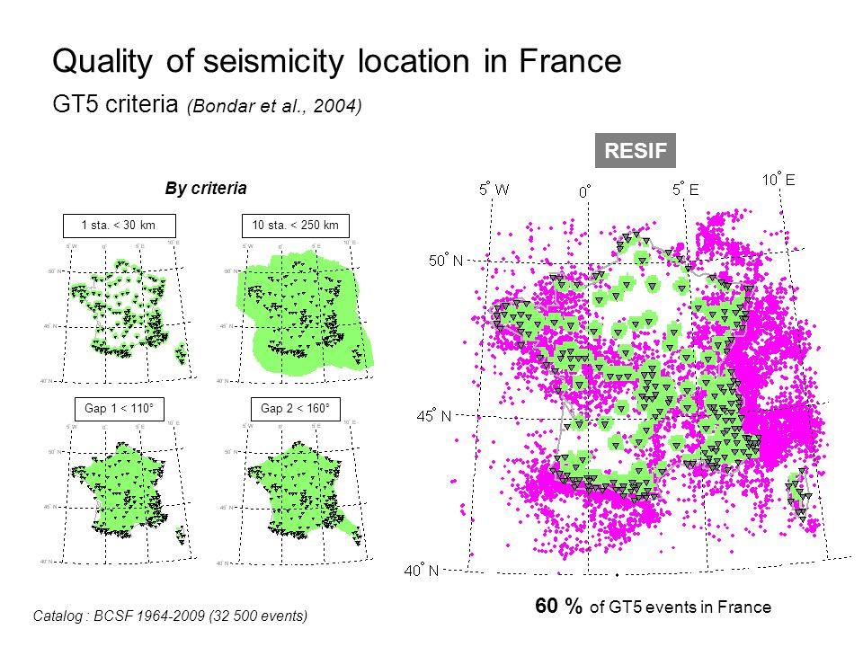 Quality of seismicity location in France GT5 criteria (Bondar et al