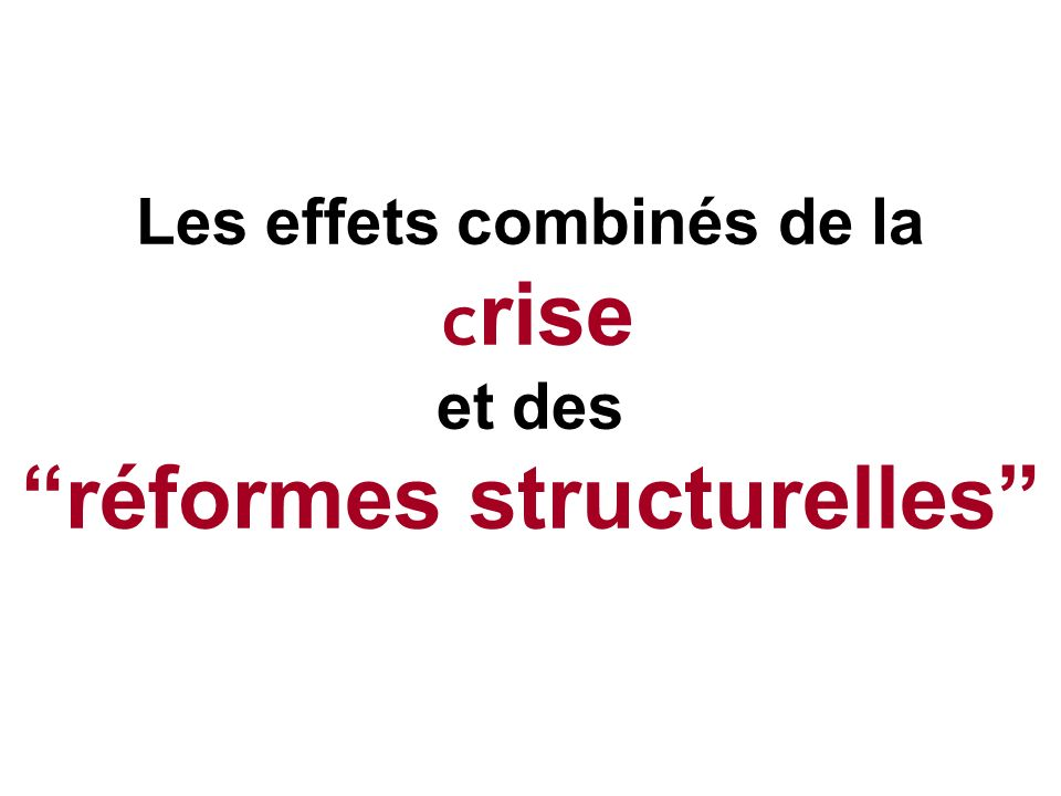 Les effets combinés de la crise et des réformes structurelles