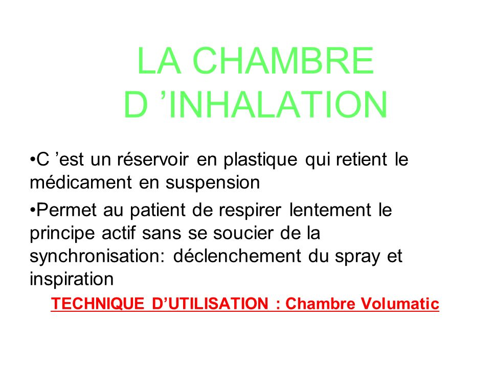 Soins infirmiers dans l asthme ppt t l charger for Chambre d inhalation