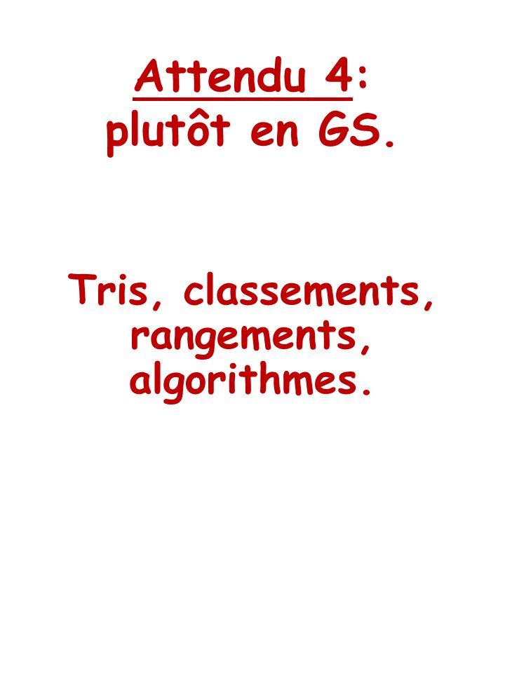 Tris, classements, rangements, algorithmes.