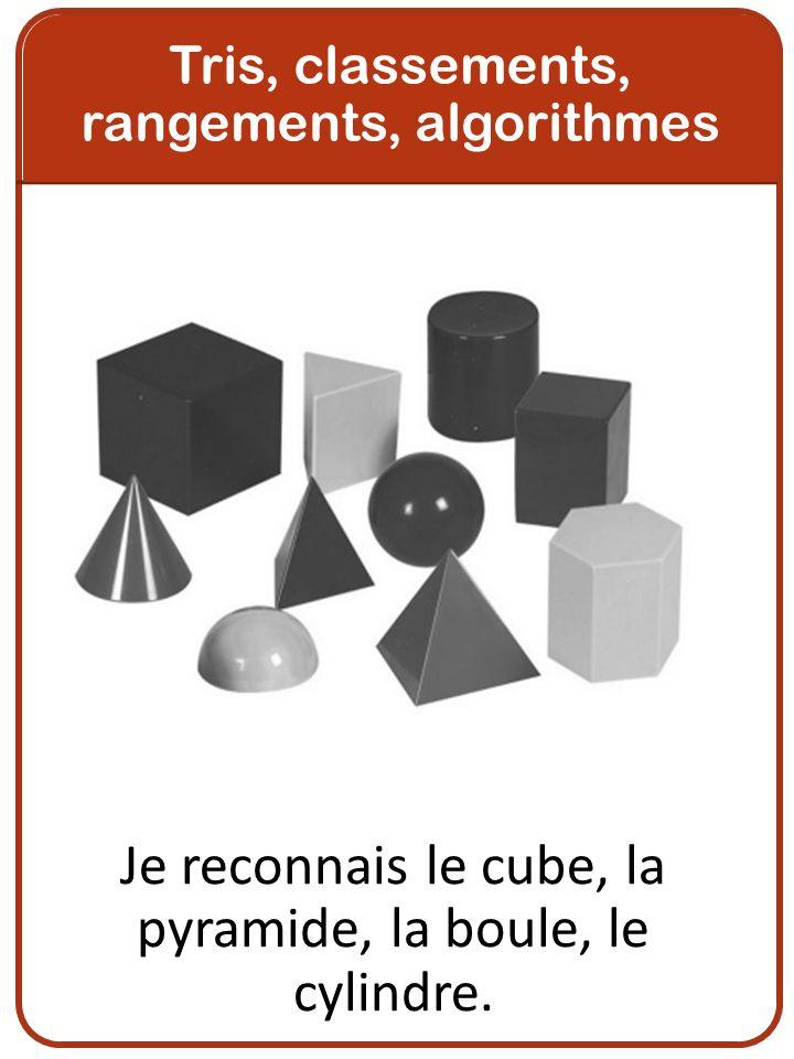 Je reconnais le cube, la pyramide, la boule, le cylindre.