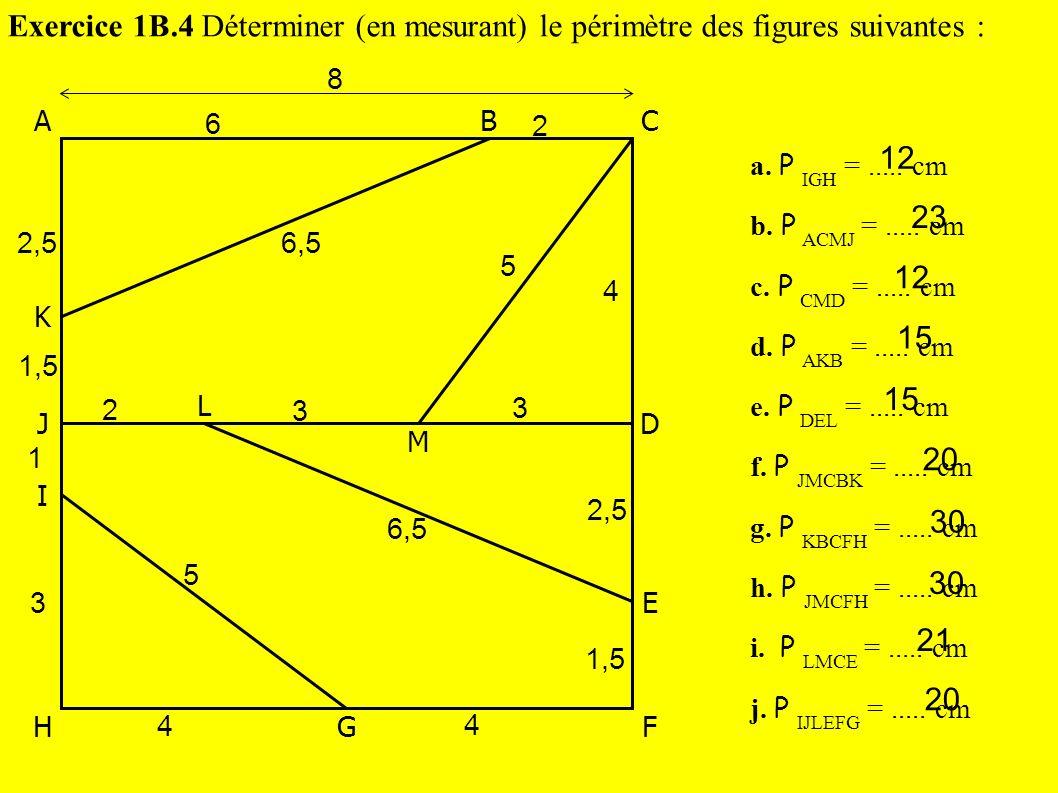 Exercice 1B.4 Déterminer (en mesurant) le périmètre des figures suivantes :