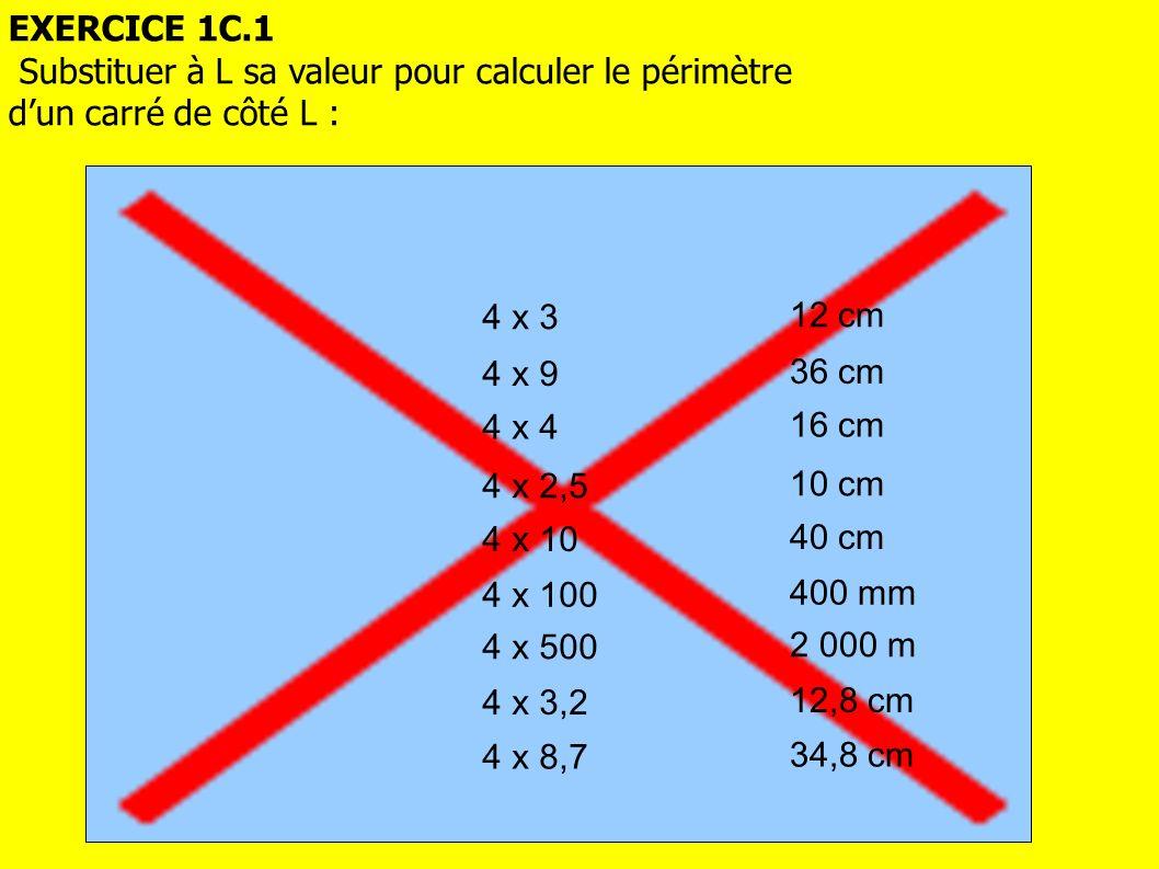 EXERCICE 1C.1 Substituer à L sa valeur pour calculer le périmètre. d'un carré de côté L : 4 x 3. 12 cm.