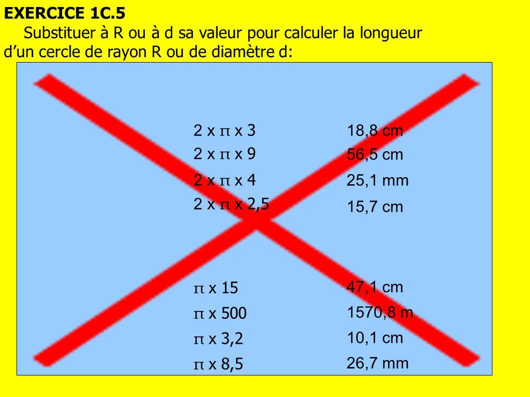 EXERCICE 1C.5 Substituer à R ou à d sa valeur pour calculer la longueur. d'un cercle de rayon R ou de diamètre d: