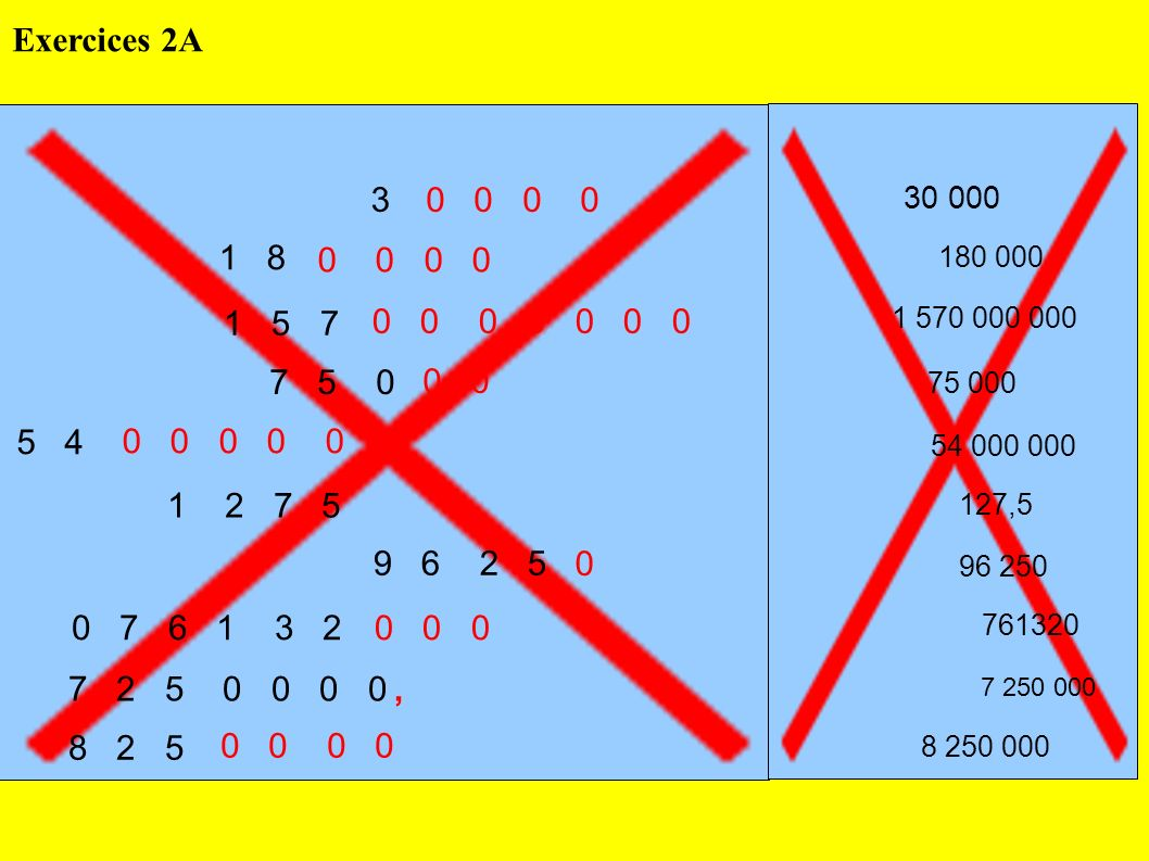 Exercices 2A 3. 0 0 0 0. 30 000. 1 8. 0 0 0 0. 180 000. 1 5 7. 0 0 0 0 0 0 0.