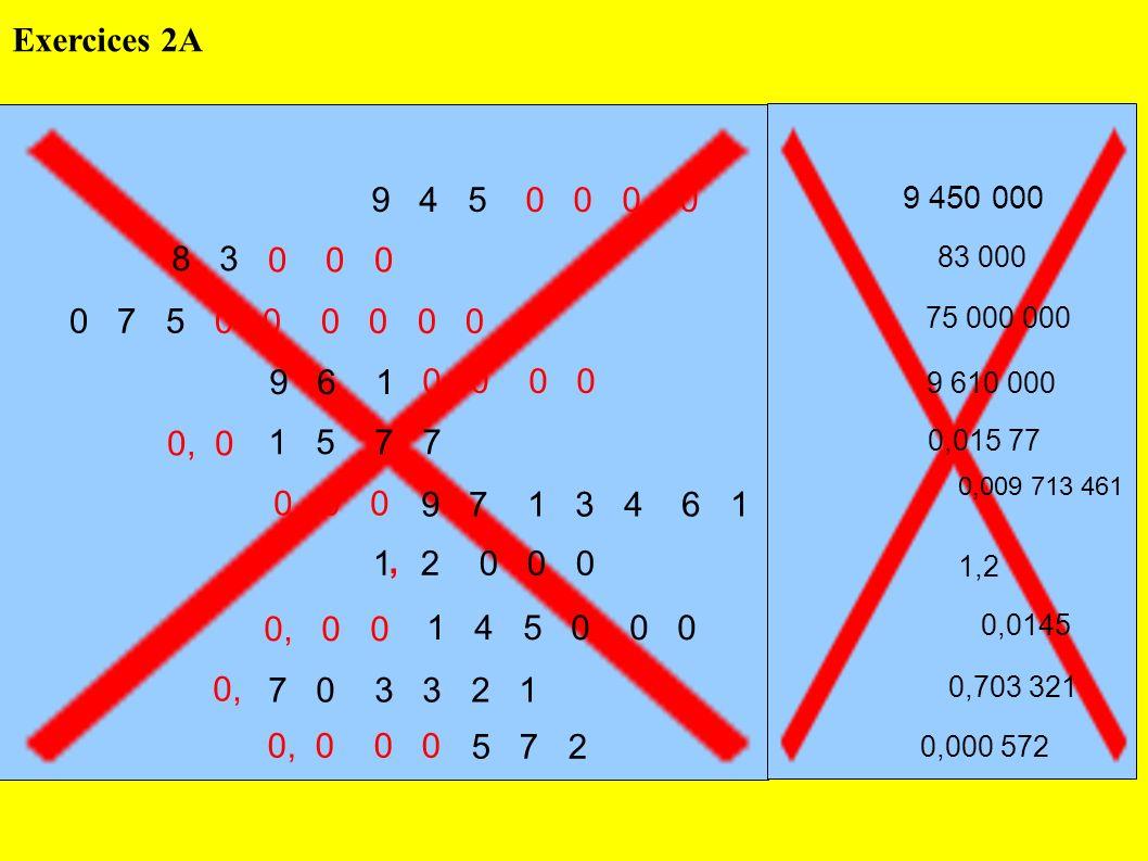 Exercices 2A 9 4 5. 0 0 0 0. 9 450 000. 8 3. 0 0 0. 83 000. 0 7 5. 0 0 0 0 0 0.