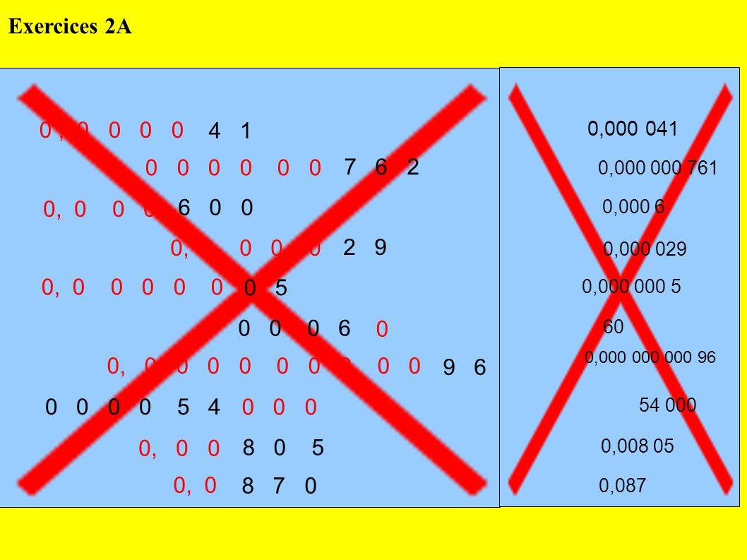 Exercices 2A 0 , 0 0 0 0. 4 1. 0,000 041. 0, 0 0 0 0 0 0. 7 6 2. 0,000 000 761.