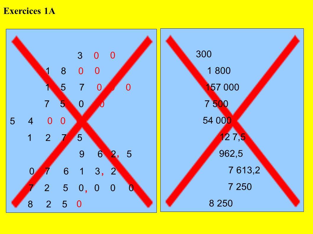 Exercices 1A 3. 300. 1 8. 1 800. 1 5 7. 0 0 0. 157 000. 7 5 0. 7 500.