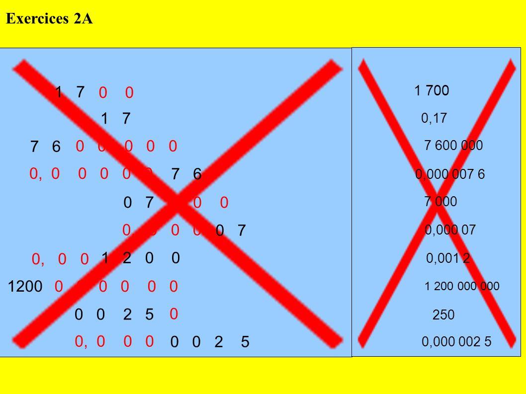 Exercices 2A 1 7. 0 0. 1 700. 0, 1 7. 0,17. 7 6. 0 0 0 0 0. 7 600 000. 0, 0 0 0 0 0.