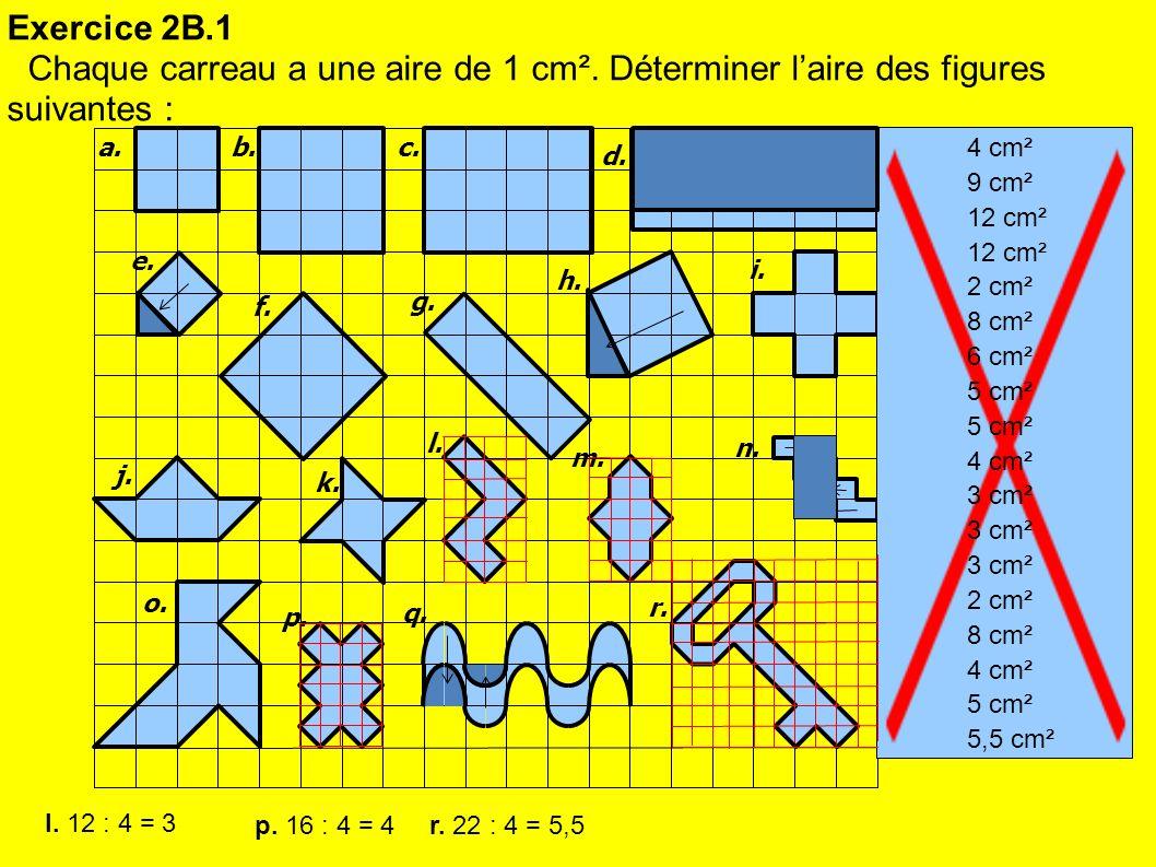 Exercice 2B.1 Chaque carreau a une aire de 1 cm². Déterminer l'aire des figures suivantes : a. b.