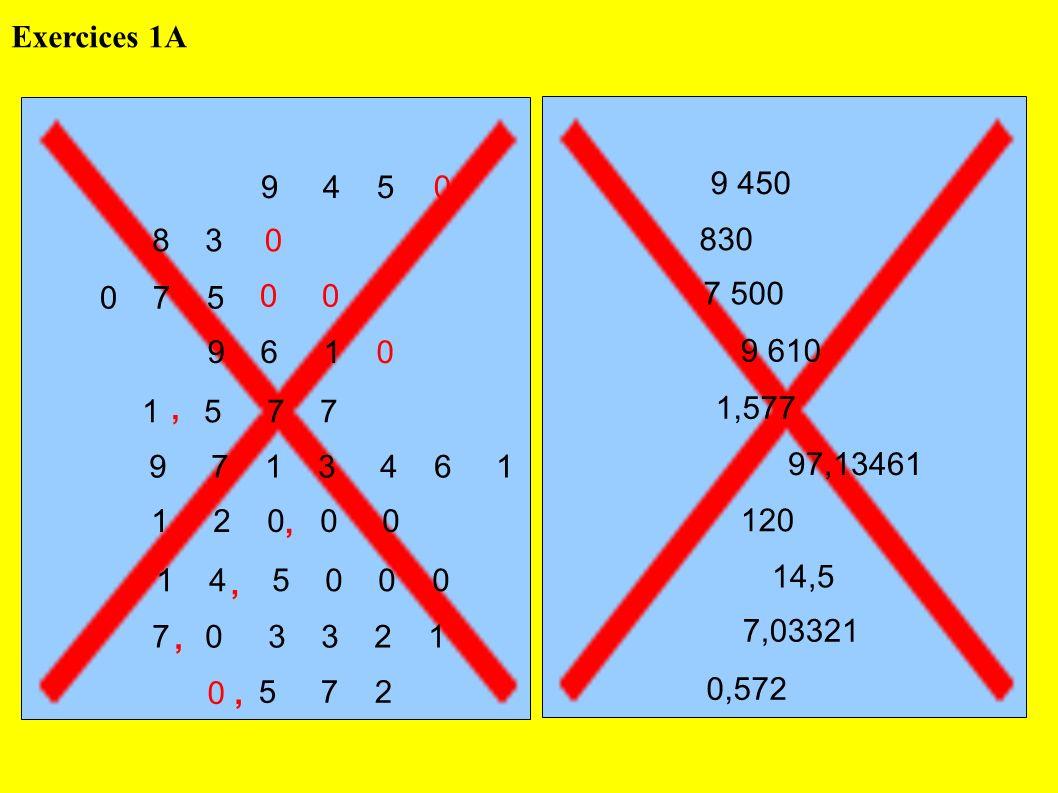 Exercices 1A 9 4 5. 9 450. 8 3. 830. 0 7 5. 0 0. 7 500. 9 6 1. 9 610.