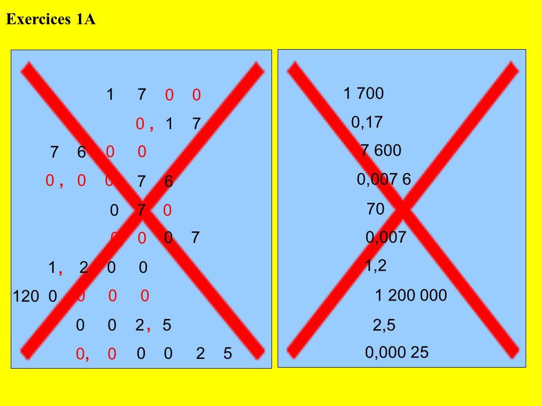 Exercices 1A 1 7. 0 0. 1 700. 0 , 1 7. 0,17. 7 6. 0 0. 7 600. 0 , 0 0.