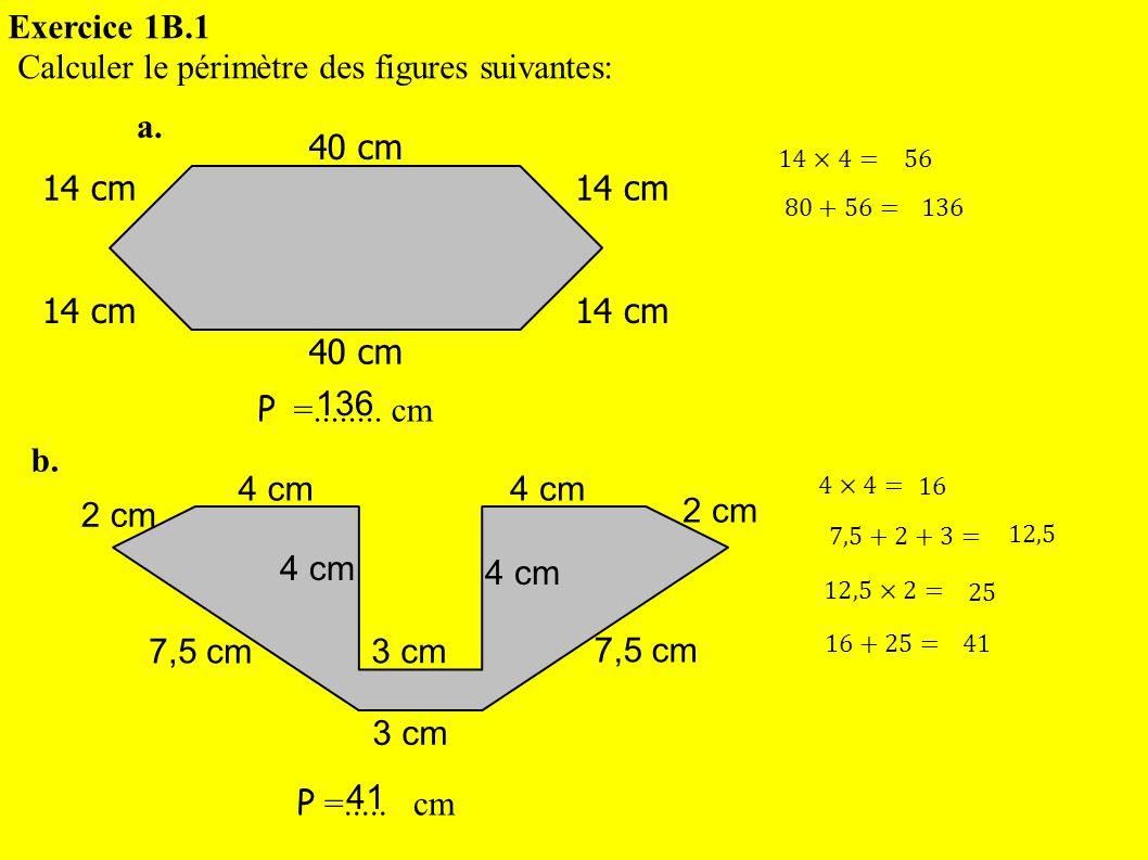 Calculer le périmètre des figures suivantes: