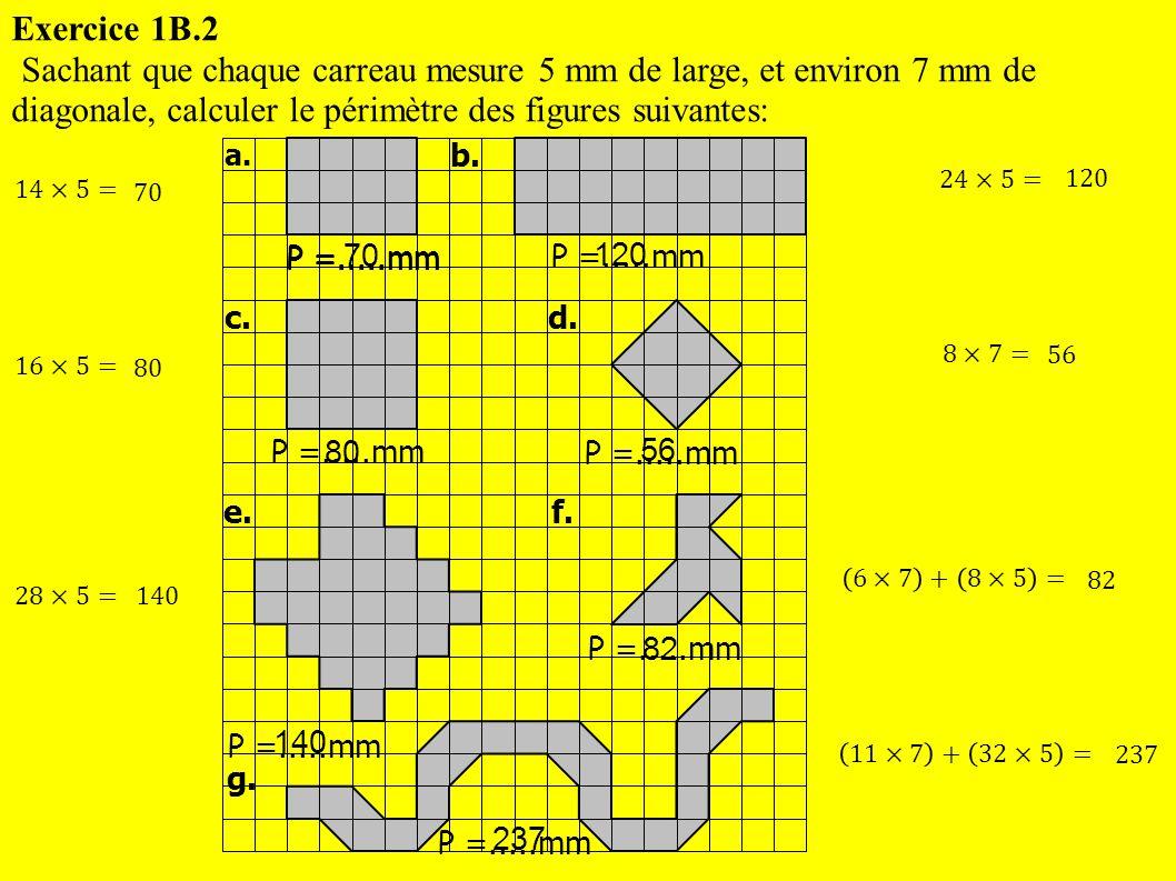 Exercice 1B.2 Sachant que chaque carreau mesure 5 mm de large, et environ 7 mm de diagonale, calculer le périmètre des figures suivantes:
