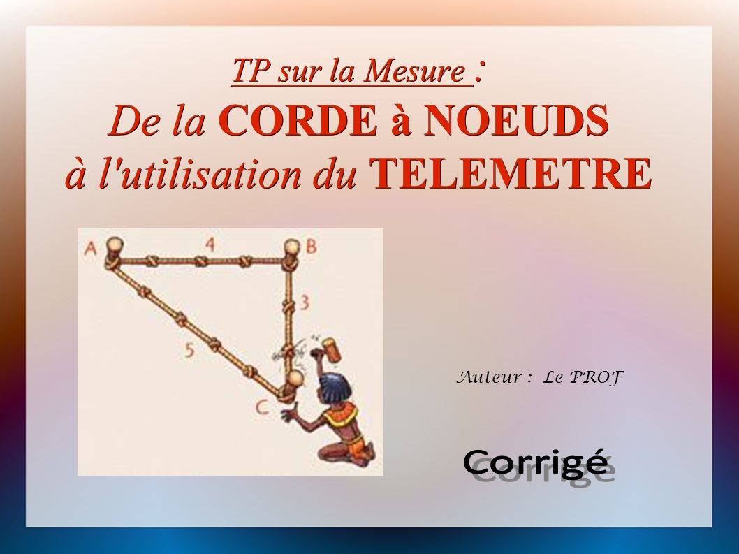 TP sur la Mesure : De la CORDE à NOEUDS à l utilisation du TELEMETRE