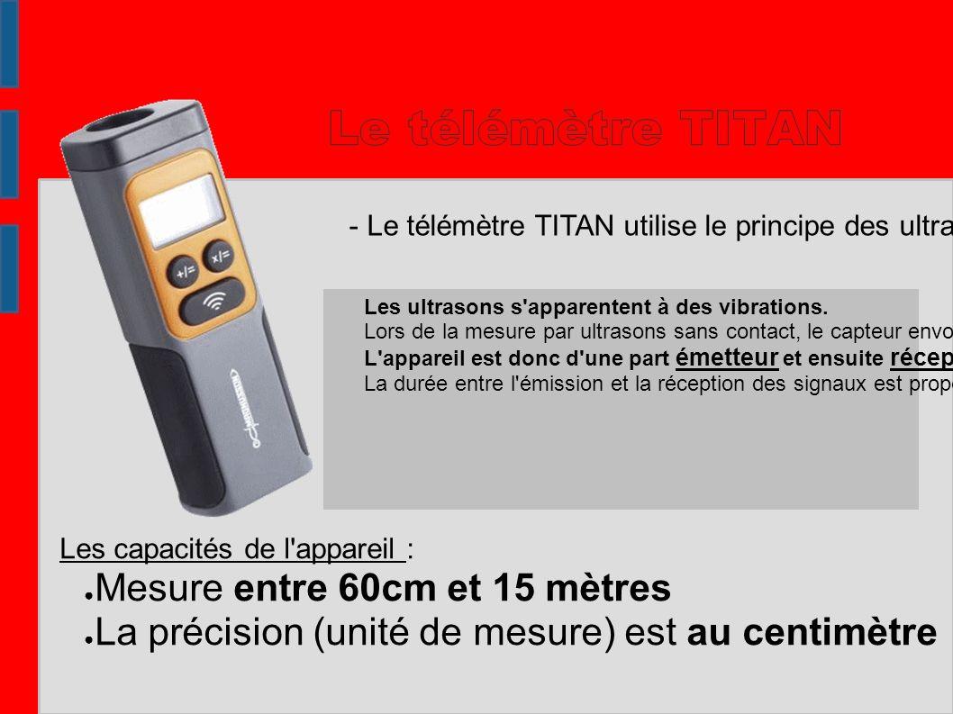 Le télémètre TITAN Mesure entre 60cm et 15 mètres