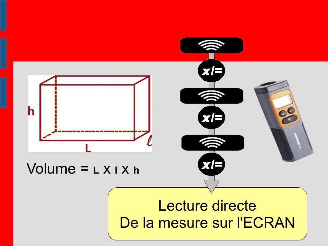 Volume = L x l x h Lecture directe De la mesure sur l ECRAN