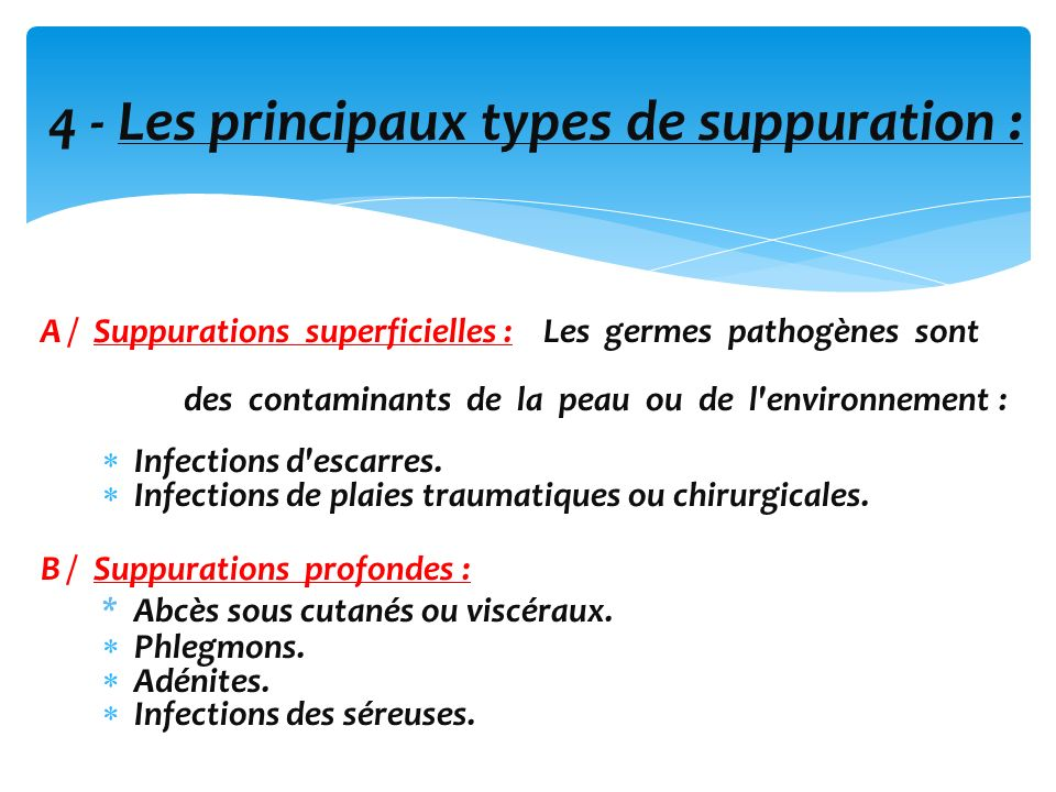 4 - Les principaux types de suppuration :