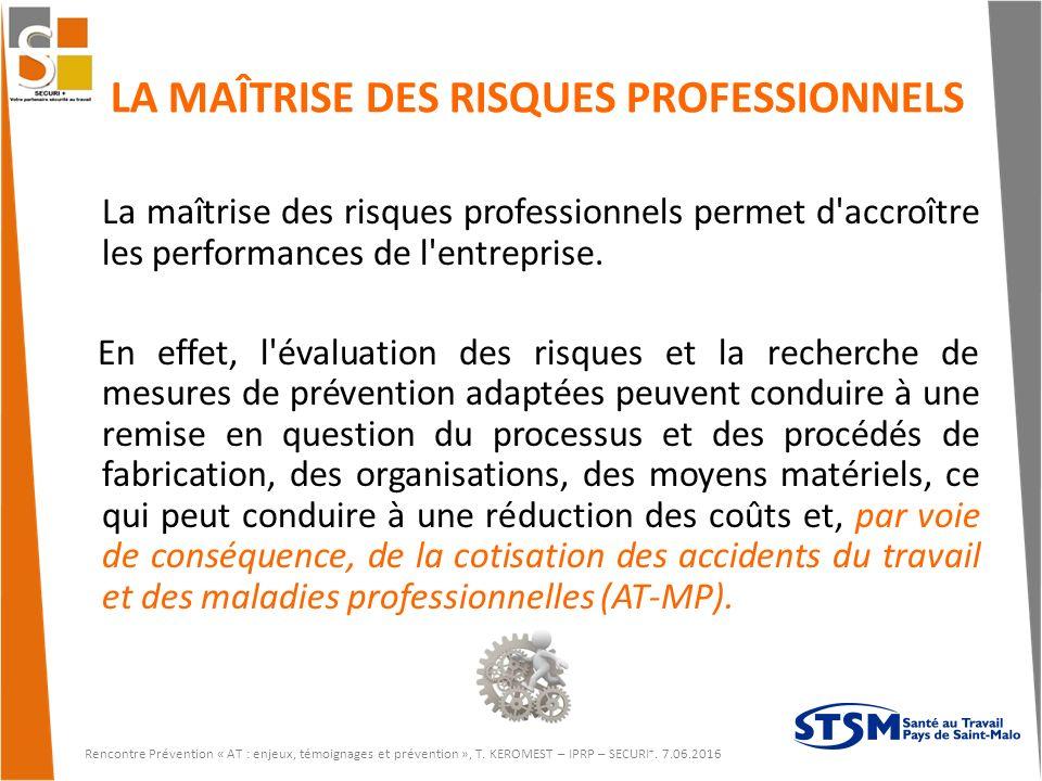 LA MAÎTRISE DES RISQUES PROFESSIONNELS