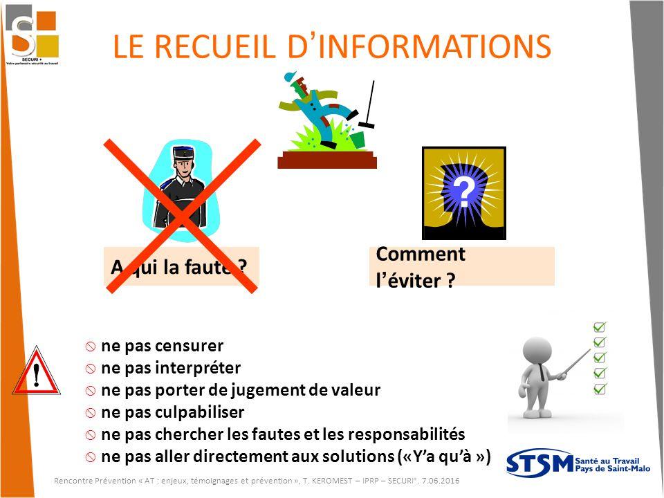LE RECUEIL D'INFORMATIONS