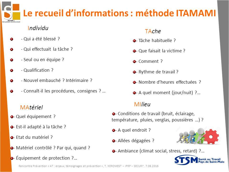 Le recueil d'informations : méthode ITAMAMI