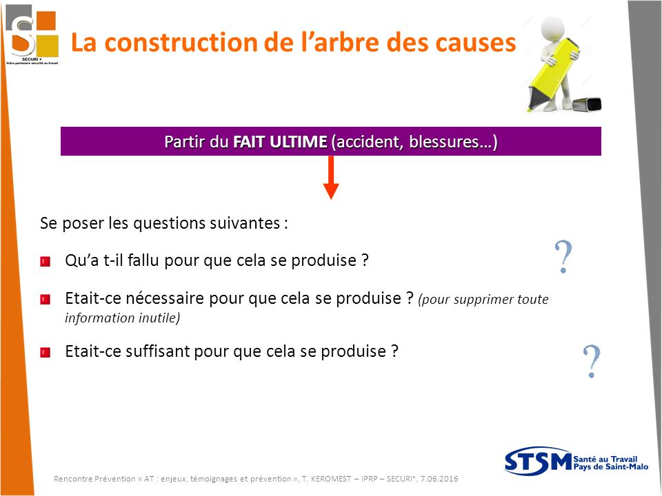 La construction de l'arbre des causes