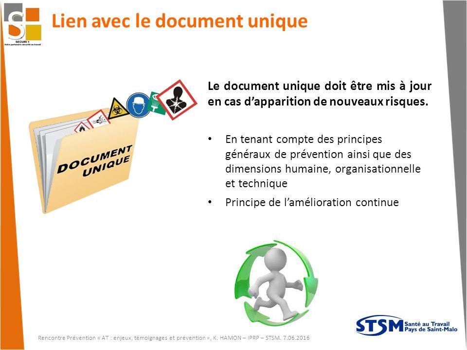 Lien avec le document unique