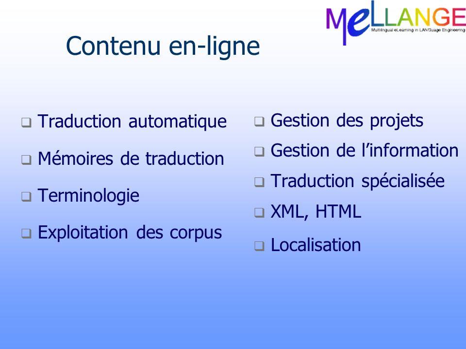 Contenu en-ligne Gestion des projets Traduction automatique