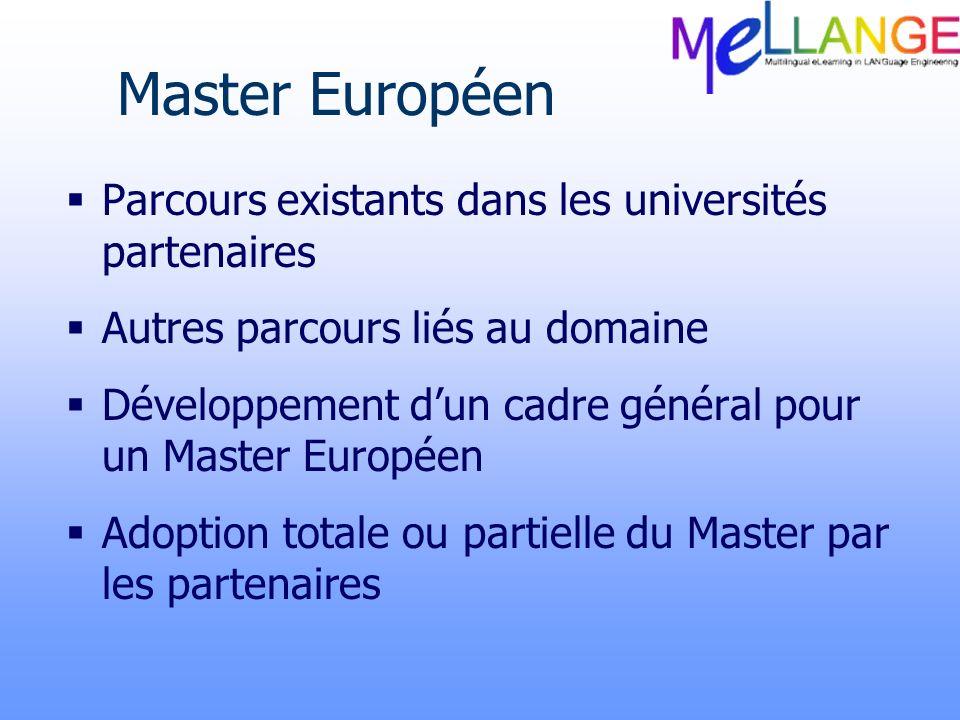 Master Européen Parcours existants dans les universités partenaires