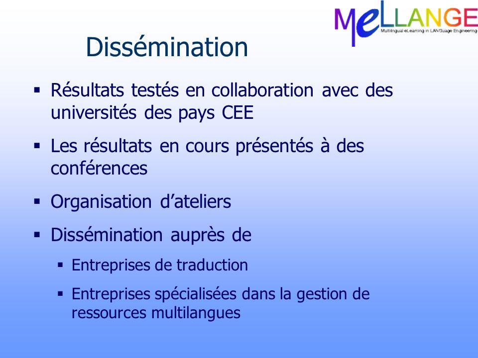 Dissémination Résultats testés en collaboration avec des universités des pays CEE. Les résultats en cours présentés à des conférences.