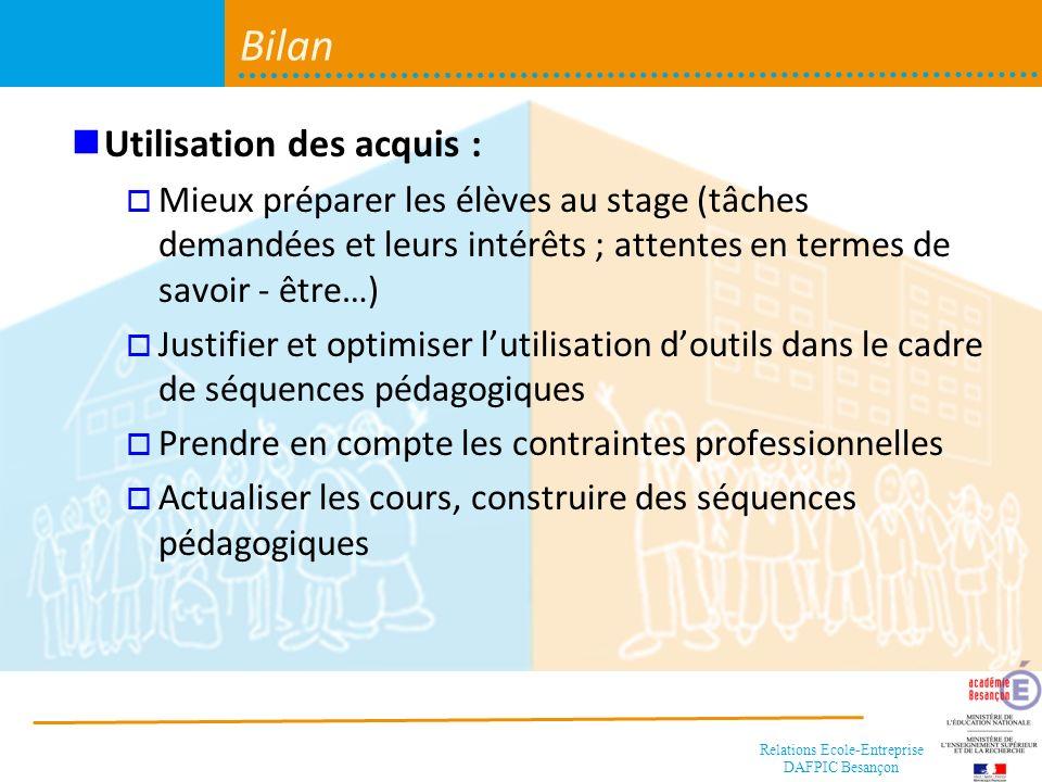 Bilan Utilisation des acquis :