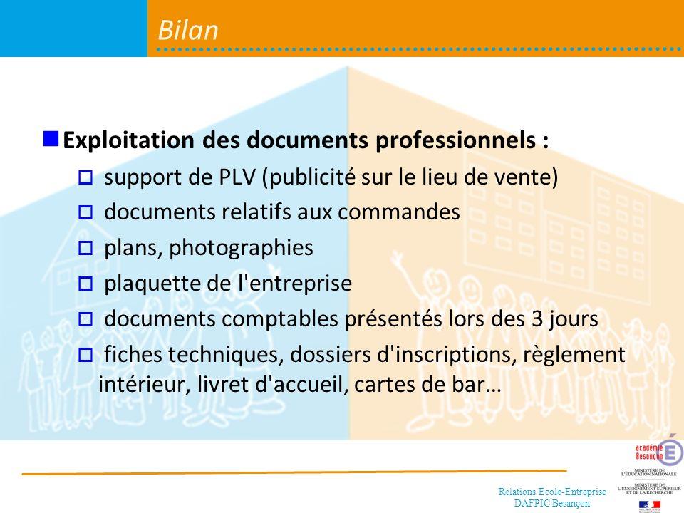 Bilan Exploitation des documents professionnels :