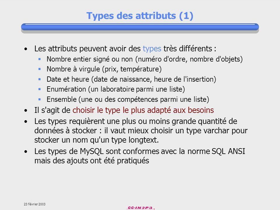 Types des attributs (1) Les attributs peuvent avoir des types très différents : Nombre entier signé ou non (numéro d ordre, nombre d objets)