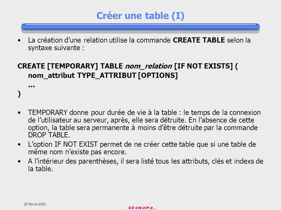 Créer une table (I)La création d'une relation utilise la commande CREATE TABLE selon la syntaxe suivante :