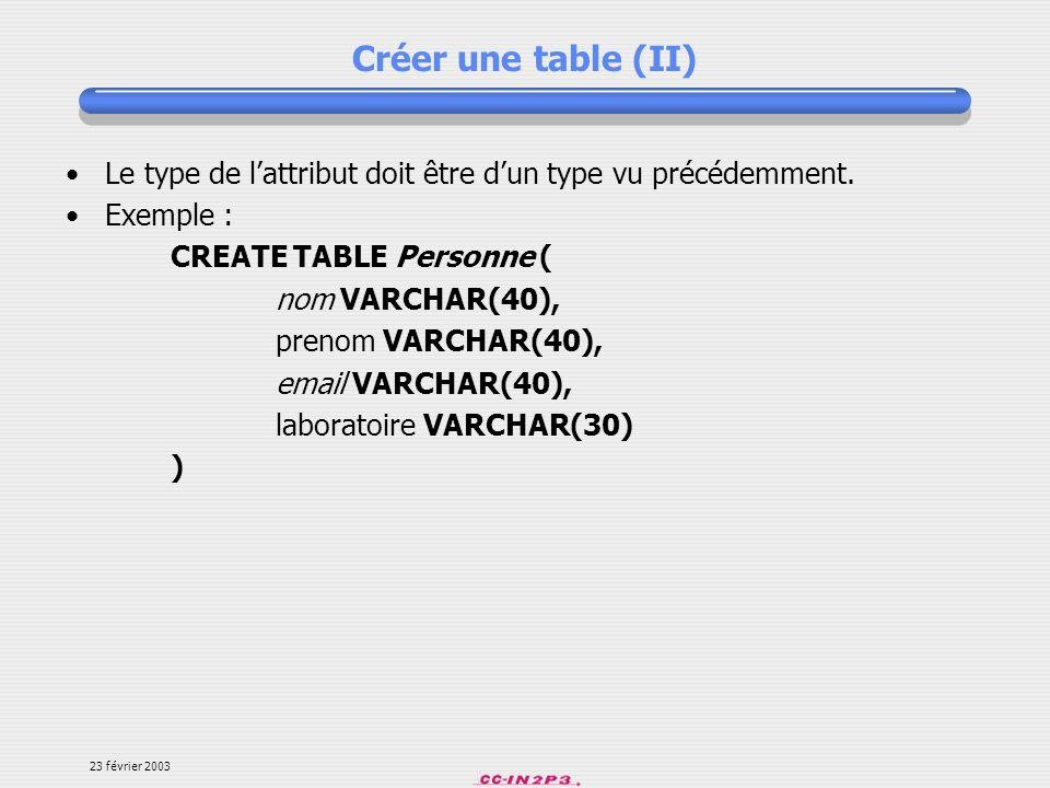 Créer une table (II) Le type de l'attribut doit être d'un type vu précédemment. Exemple : CREATE TABLE Personne (