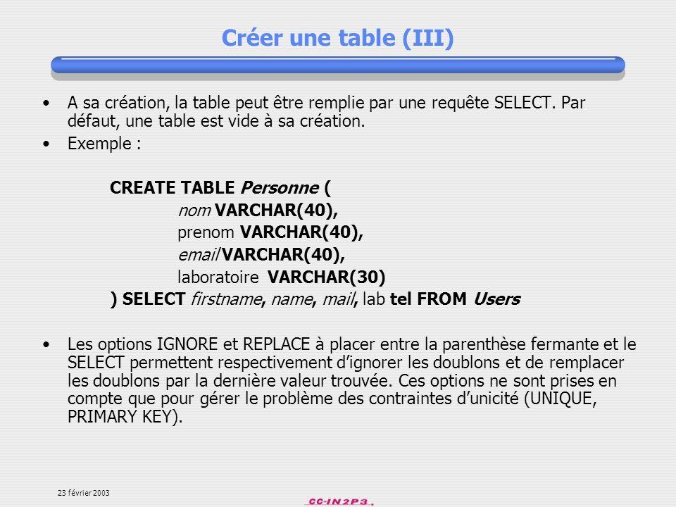 Créer une table (III) A sa création, la table peut être remplie par une requête SELECT. Par défaut, une table est vide à sa création.
