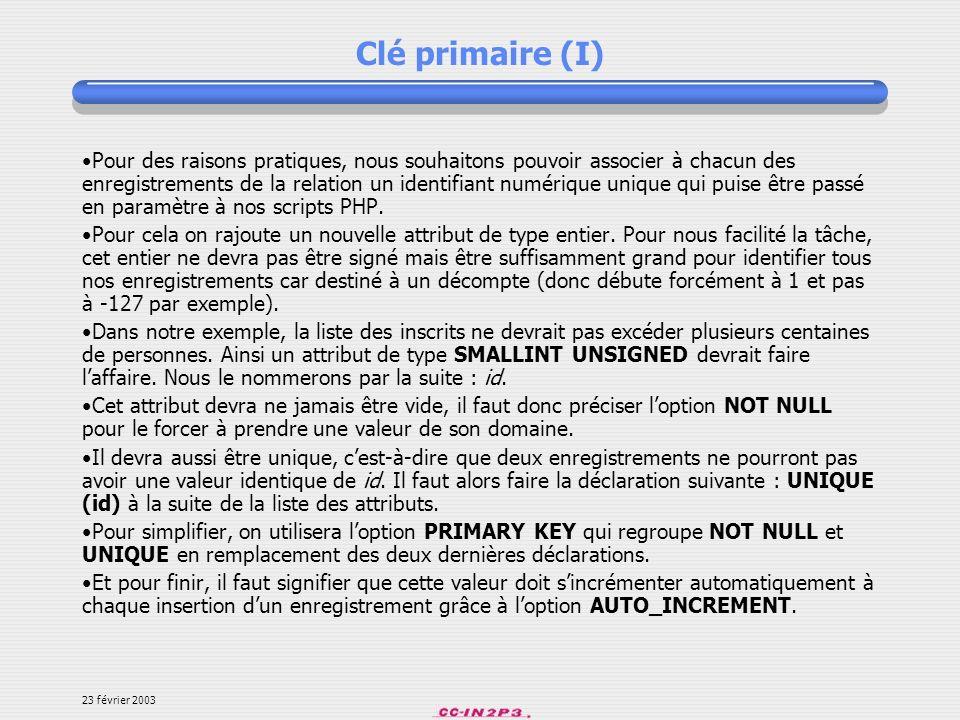 Clé primaire (I)