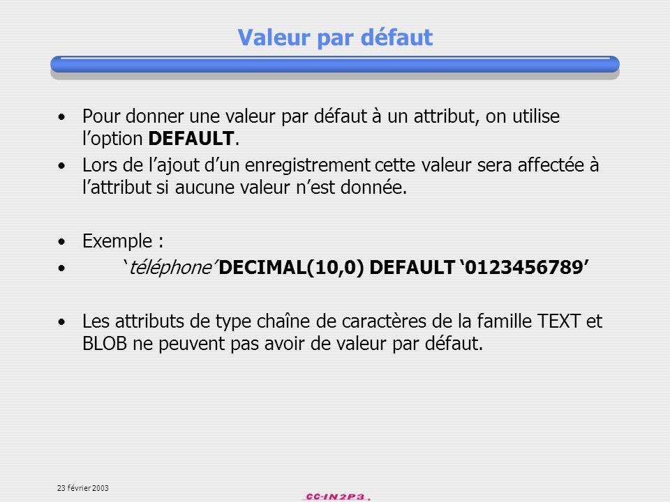 Valeur par défaut Pour donner une valeur par défaut à un attribut, on utilise l'option DEFAULT.