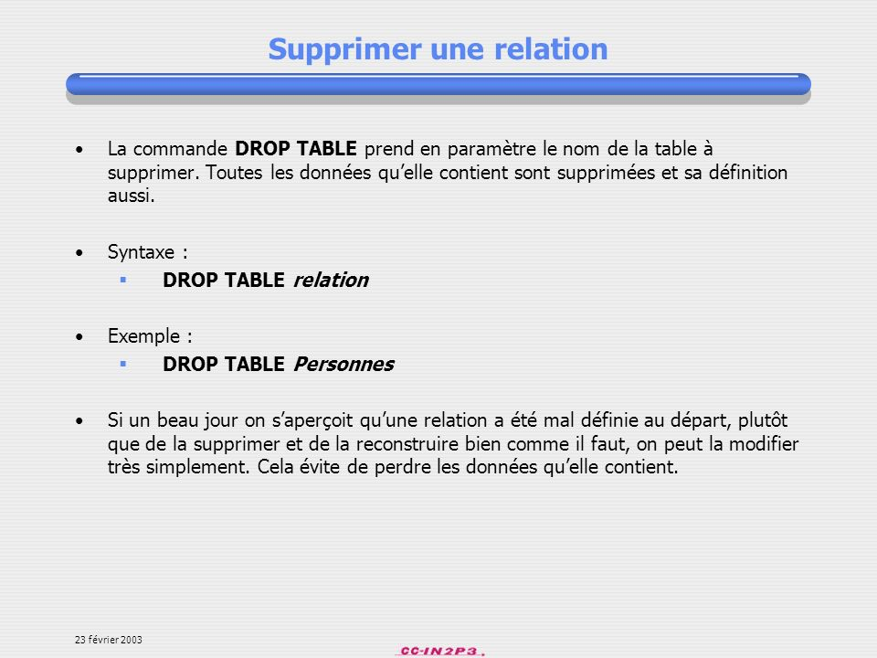 Supprimer une relation